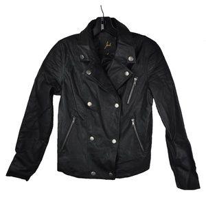 Black Motorcycle Vegan Leather Jacket